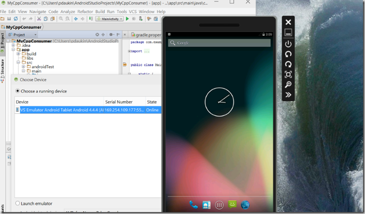 vsemulatorinandroidstudio
