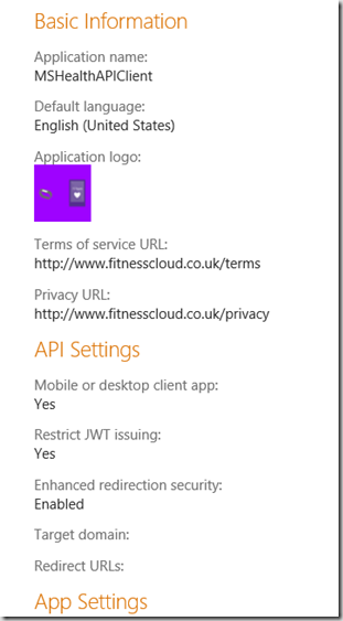 app settings