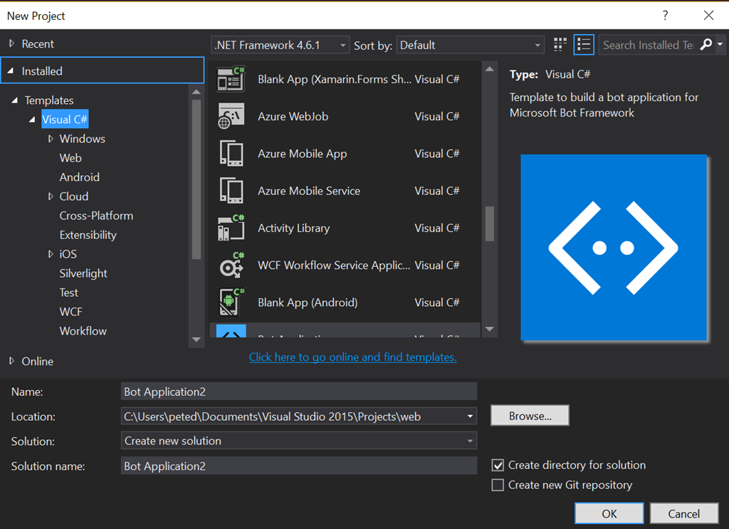 web bot project Download code samples and examples for  and other products in c#, vbnet  the entity framework 6 in an aspnet mvc 5 web application project,.
