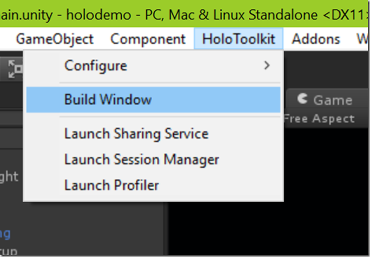 build window menu