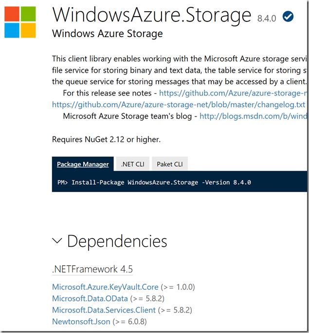 Azure Storage SDK dependencies